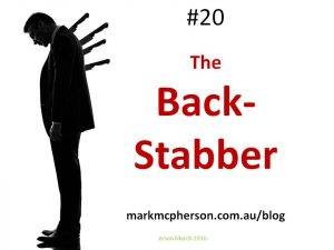 The Back-Stabber: one of the 52 types of difficult people I've documented.