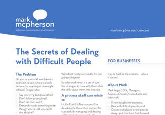 One-page brochure for Businesses