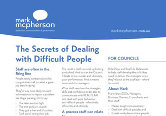 One-page brochure for Councils