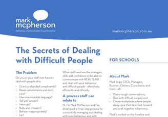 One-page brochure for Schools