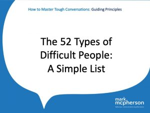 The 52 Types of Difficult People - a simple list